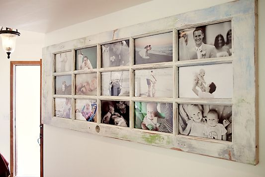 An old door turned into a photo frame for home display. http://www.photogmommie.com/an-old-door-our-story
